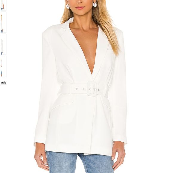 NBD Jackets & Blazers - NBD Niko Blazer in White Long Belted Blazer